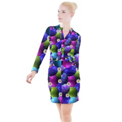 Eggs Happy Easter Button Long Sleeve Dress