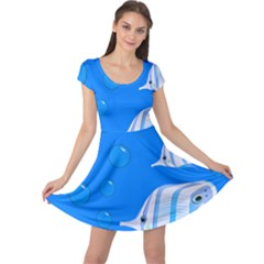 Fish School Bubbles Underwater Sea Cap Sleeve Dress