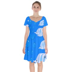 Fish School Bubbles Underwater Sea Short Sleeve Bardot Dress