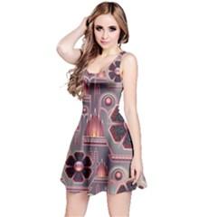 Floral Flower Stylised Reversible Sleeveless Dress