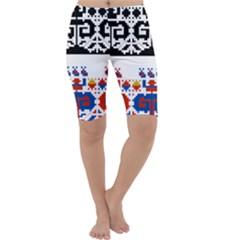 Folk Art Fabric Cropped Leggings  by HermanTelo