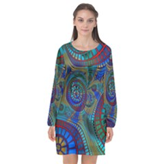 Fractal Abstract Line Wave Long Sleeve Chiffon Shift Dress  by HermanTelo