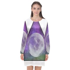 Form Triangle Moon Space Long Sleeve Chiffon Shift Dress