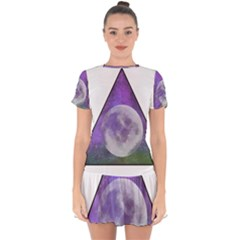 Form Triangle Moon Space Drop Hem Mini Chiffon Dress