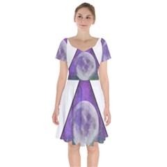 Form Triangle Moon Space Short Sleeve Bardot Dress by HermanTelo