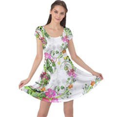 Flowers Floral Cap Sleeve Dress by HermanTelo