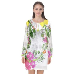 Flowers Floral Long Sleeve Chiffon Shift Dress