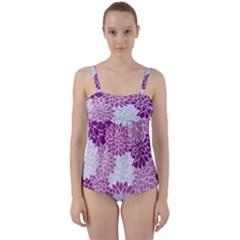 Floral Purple Twist Front Tankini Set by HermanTelo
