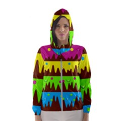 Illustration Abstract Graphic Rainbow Women s Hooded Windbreaker