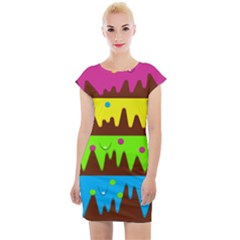 Illustration Abstract Graphic Rainbow Cap Sleeve Bodycon Dress by HermanTelo