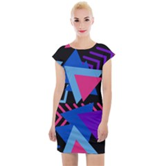 Memphis Pattern Geometric Abstract Cap Sleeve Bodycon Dress by HermanTelo