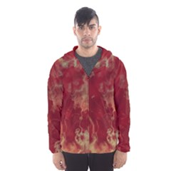Marble Red Yellow Background Men s Hooded Windbreaker