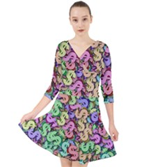 Money Currency Rainbow Quarter Sleeve Front Wrap Dress by HermanTelo