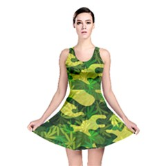 Marijuana Camouflage Cannabis Drug Reversible Skater Dress