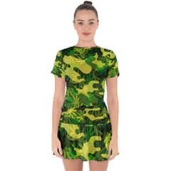Marijuana Camouflage Cannabis Drug Drop Hem Mini Chiffon Dress
