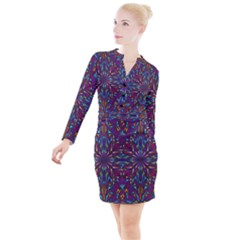 Kaleidoscope Triangle Curved Button Long Sleeve Dress