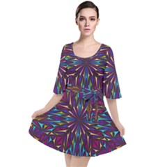 Kaleidoscope Triangle Curved Velour Kimono Dress by HermanTelo