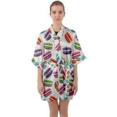 Macaron Bread Quarter Sleeve Kimono Robe by HermanTelo