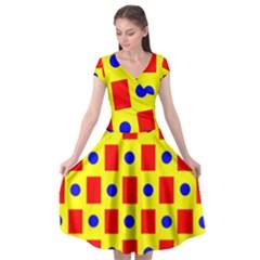 Pattern Circle Plaid Cap Sleeve Wrap Front Dress