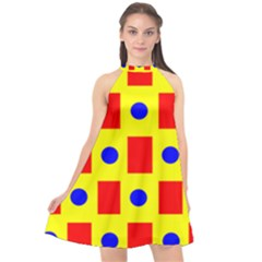 Pattern Circle Plaid Halter Neckline Chiffon Dress
