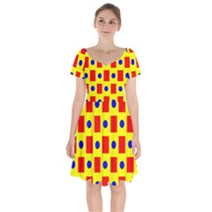 Pattern Circle Plaid Short Sleeve Bardot Dress by HermanTelo