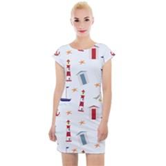 Nautical Sea Cap Sleeve Bodycon Dress