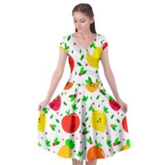 Pattern Fruits Orange Green Cap Sleeve Wrap Front Dress