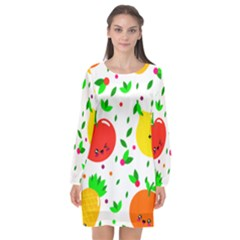 Pattern Fruits Orange Green Long Sleeve Chiffon Shift Dress  by HermanTelo