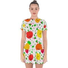 Pattern Fruits Orange Green Drop Hem Mini Chiffon Dress by HermanTelo