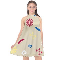 Pattern Culture Tribe American Halter Neckline Chiffon Dress