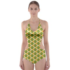 Pattern Halloween Pumpkin Color Green Cut Out One Piece Swimsuit