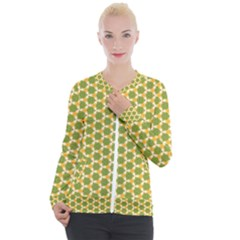 Pattern Halloween Pumpkin Color Green Casual Zip Up Jacket by HermanTelo