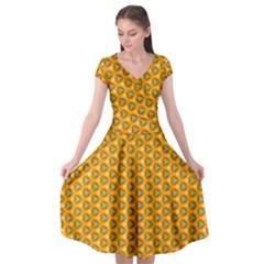 Pattern Halloween Pumpkin Color Leaf Cap Sleeve Wrap Front Dress by HermanTelo