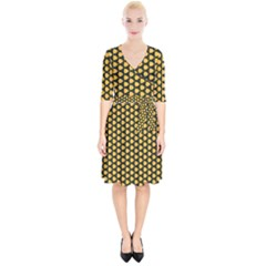 Pattern Halloween Pumpkin Color Yellow Wrap Up Cocktail Dress