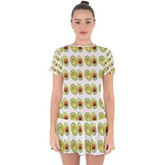 Pattern Avocado Green Fruit Drop Hem Mini Chiffon Dress