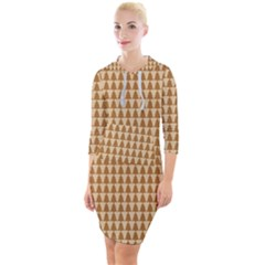 Pattern Gingerbread Brown Tree Quarter Sleeve Hood Bodycon Dress