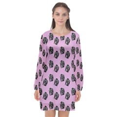 Girl Face Lilac Long Sleeve Chiffon Shift Dress  by snowwhitegirl