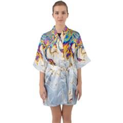 Perspective -light Shades, Marble Technique - Quarter Sleeve Kimono Robe by WensdaiAmbrose