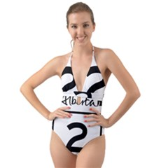 Alberta Highway 2 Shield Halter Cut Out One Piece Swimsuit by abbeyz71