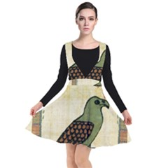 Egyptian Paper Papyrus Bird Plunge Pinafore Dress by Sapixe