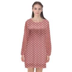 Pattern Star Backround Long Sleeve Chiffon Shift Dress