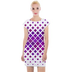 Pattern Square Purple Horizontal Cap Sleeve Bodycon Dress