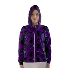 Gothic Girl Rose Purple Pattern Women s Hooded Windbreaker by snowwhitegirl