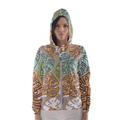 Pattern Leaves Banana Rainbow Women s Hooded Windbreaker