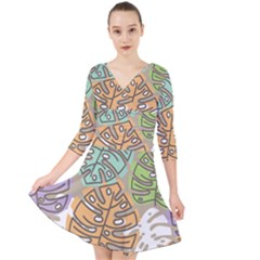 Pattern Leaves Banana Rainbow Quarter Sleeve Front Wrap Dress by HermanTelo