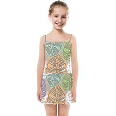 Pattern Leaves Banana Rainbow Kids  Summer Sun Dress