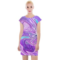 Pattern Texture Art Rainbow Cap Sleeve Bodycon Dress by HermanTelo