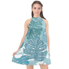 Pattern Leaves Banana Halter Neckline Chiffon Dress  by HermanTelo