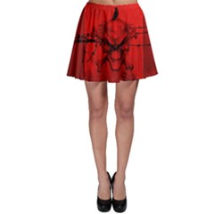 Awesome Creepy Skull With Crowm In Red Colors Skater Skirt by FantasyWorld7