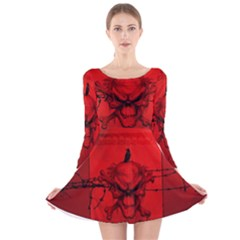 Awesome Creepy Skull With Crowm In Red Colors Long Sleeve Velvet Skater Dress by FantasyWorld7